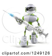 Clipart Of A 3d White And Green Robot Walking With A Syringe Royalty Free Illustration