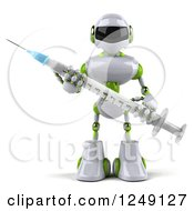 Clipart Of A 3d White And Green Robot Holding A Syringe 2 Royalty Free Illustration