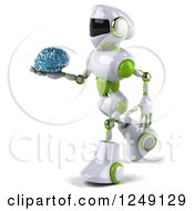 Clipart Of A 3d White And Green Robot Walking And Holding A Glass Brain Royalty Free Illustration
