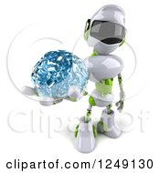 Clipart Of A 3d White And Green Robot Holding Up A Glass Brain Royalty Free Illustration