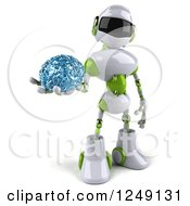 Clipart Of A 3d White And Green Robot Holding A Glass Brain Royalty Free Illustration
