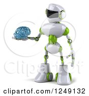 Clipart Of A 3d White And Green Robot Holding A Glass Brain 2 Royalty Free Illustration