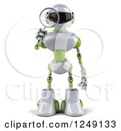Clipart Of A 3d White And Green Robot Searching With A Magnifying Glass 4 Royalty Free Illustration