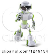 Clipart Of A 3d White And Green Robot Searching With A Magnifying Glass 5 Royalty Free Illustration