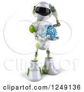 Clipart Of A 3d White And Green Robot Thinking Holding A Glass Brain Royalty Free Illustration