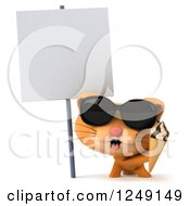 Clipart Of A 3d Ginger Cat Wearing Sunglasses And Holding An Ice Cream Cone By A Blank Sign Royalty Free Illustration