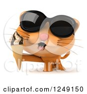 Clipart Of A 3d Ginger Cat Wearing Sunglasses And Holding An Ice Cream Cone Royalty Free Illustration