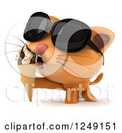 Clipart Of A 3d Ginger Cat Wearing Sunglasses And Eating An Ice Cream Cone Royalty Free Illustration