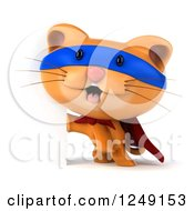 Clipart Of A 3d Super Hero Ginger Cat By A Sign Royalty Free Illustration