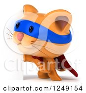 Clipart Of A 3d Super Hero Ginger Cat By A Sign 2 Royalty Free Illustration