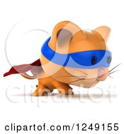 Clipart Of A 3d Super Hero Ginger Cat Walking Royalty Free Illustration