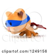 Clipart Of A 3d Super Hero Ginger Cat Walking 2 Royalty Free Illustration