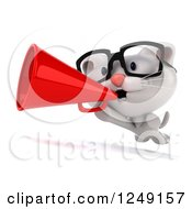 Clipart Of A 3d Bespectacled White Kitten Announcing With A Megaphone Royalty Free Illustration