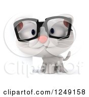 Clipart Of A 3d Bespectacled White Kitten Beside A Sign Royalty Free Illustration