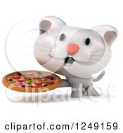 Clipart Of A 3d White Kitten Holding A Pizza Royalty Free Illustration