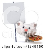 Clipart Of A 3d White Kitten Holding A Pizza By A Blank Sign Royalty Free Illustration
