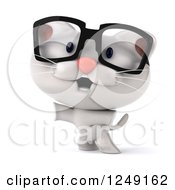 Clipart Of A 3d Bespectacled White Kitten Presenting And Jumping Royalty Free Illustration