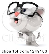 Clipart Of A 3d Bespectacled White Kitten Jumping Royalty Free Illustration