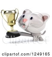 Clipart Of A 3d Happy White Kitten Holding A Trophy Cup 2 Royalty Free Illustration