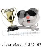 Clipart Of A 3d Happy White Kitten Wearing Sunglasses And Running With A Trophy Cup Royalty Free Illustration