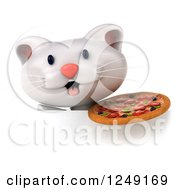 Clipart Of A 3d White Kitten Holding A Pizza Over A Sign Royalty Free Illustration