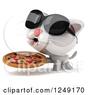 Clipart Of A 3d White Kitten Wearing Sunglasses And Holding A Pizza Royalty Free Illustration