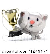 Clipart Of A 3d Happy White Kitten Holding A Trophy Cup Royalty Free Illustration