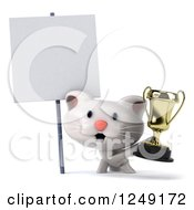 Clipart Of A 3d Happy White Kitten Holding A Trophy Cup By A Blank Sign Royalty Free Illustration