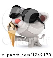 Clipart Of A 3d White Kitten Wearing Shades And Eating An Ice Cream Cone Royalty Free Illustration
