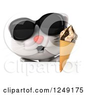 Clipart Of A 3d White Kitten Wearing Shades And Holding An Ice Cream Cone Over A Sign Royalty Free Illustration