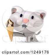 Clipart Of A 3d White Kitten Holding An Ice Cream Cone Royalty Free Illustration