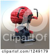 Clipart Of A 3d Red Brain On A Spin Bike Royalty Free Illustration