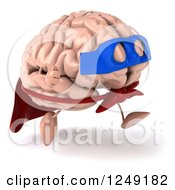 Clipart Of A 3d Super Brain Character Running 3 Royalty Free Illustration