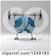 Clipart Of A 3d Blue Brain Working Out With A Barbell Royalty Free Illustration