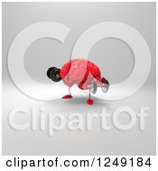 Clipart Of A 3d Red Brain Working Out With Dumbbells 4 Royalty Free Illustration