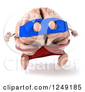 Clipart Of A 3d Super Brain Character Running Royalty Free Illustration