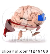 Clipart Of A 3d Super Brain Character Running 2 Royalty Free Illustration