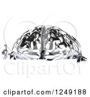 Clipart Of A 3d Chrome Brain Holding A Thumb Up Over A Sign Royalty Free Illustration by Julos