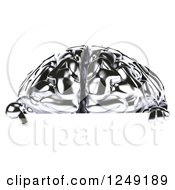 Clipart Of A 3d Chrome Brain Pointing Down At A Sign Royalty Free Illustration by Julos