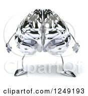 Clipart Of A 3d Chrome Brain Royalty Free Illustration by Julos