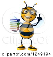 Clipart Of A 3d Bespectacled Bee Holding A Stack Of Books And Pointing Up Royalty Free Illustration