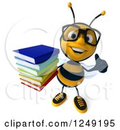 Clipart Of A 3d Bespectacled Bee Holding A Stack Of Books And A Thumb Up Royalty Free Illustration