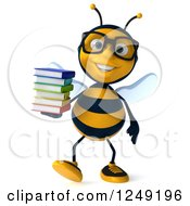 Clipart Of A 3d Bespectacled Bee Walking With A Stack Of Books Royalty Free Illustration