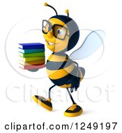 Clipart Of A 3d Bespectacled Bee Walking With A Stack Of Books 2 Royalty Free Illustration