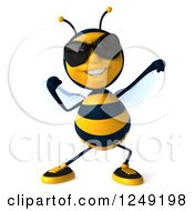 Clipart Of A 3d Bee Wearing Sunglasses And Flexing Royalty Free Illustration