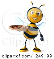 Clipart Of A 3d Bee Holding A Pizza Royalty Free Illustration