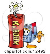 Clipart Picture Of A Blue Postal Mailbox Cartoon Character Standing With A Lit Stick Of Dynamite by Toons4Biz