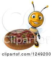 Clipart Of A 3d Bee Holding Up A Pizza Royalty Free Illustration