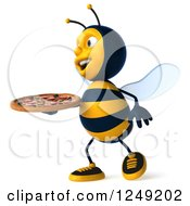 Clipart Of A 3d Bee Walking With A Pizza 2 Royalty Free Illustration