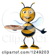 Clipart Of A 3d Bee Holding A Pizza 2 Royalty Free Illustration